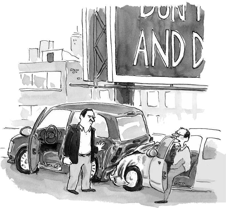 Caricatură cu accident de mașină din cauza panoului