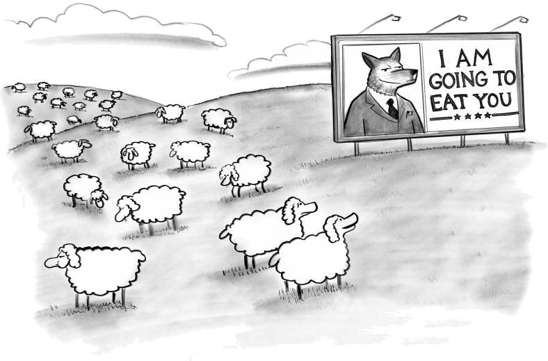 Caricatură cu panou pe un câmp cu oi