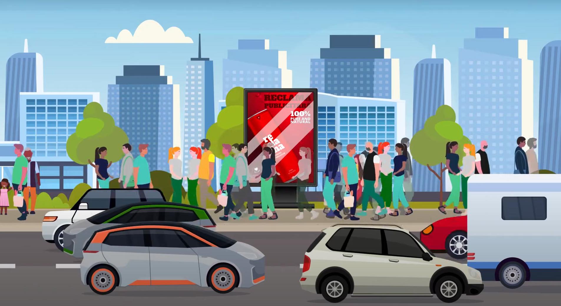 Panou publicitar amplasat în oraș