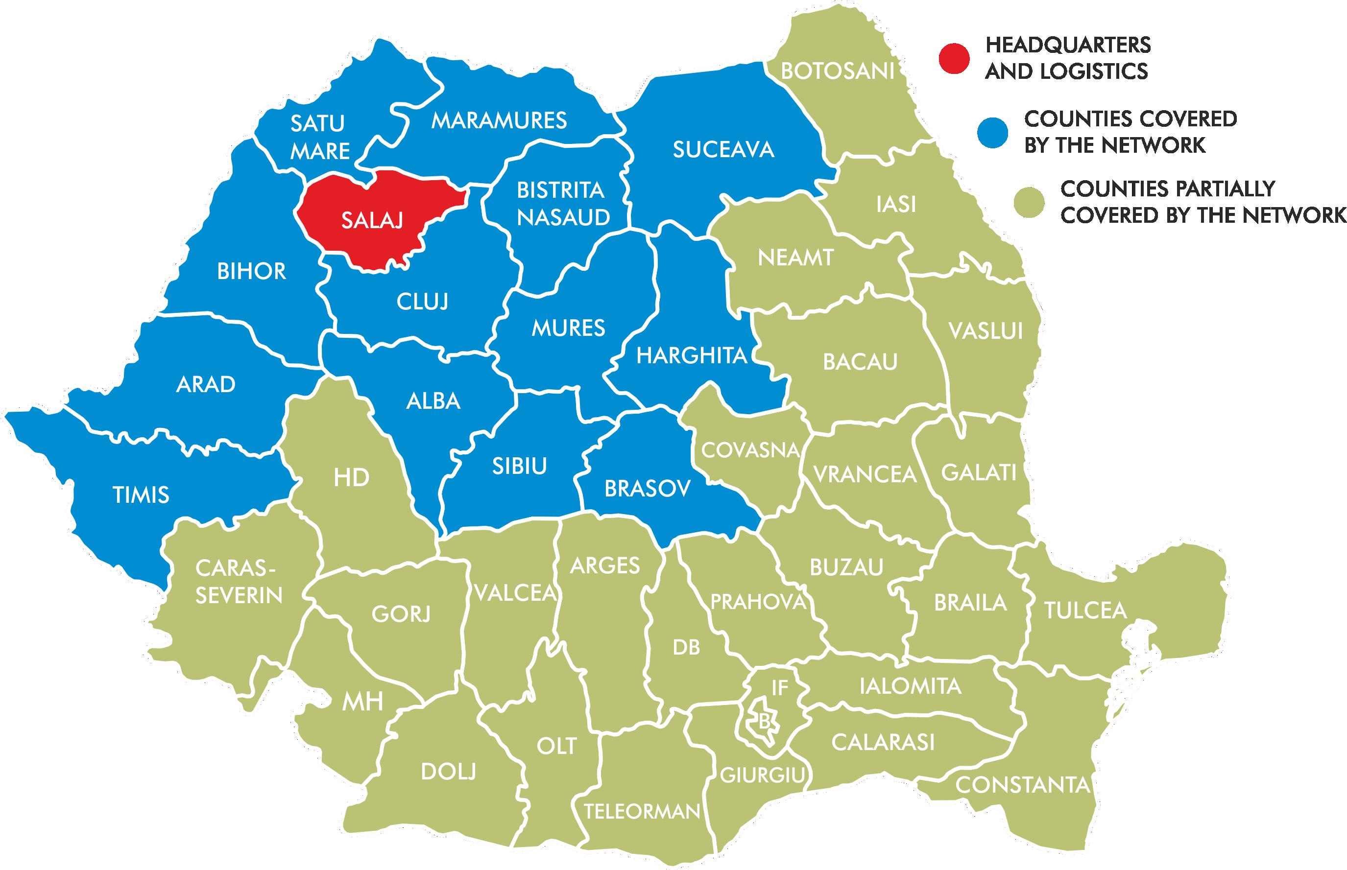 Harta Romaniei cu zonele în care Penta Media deține panouri publicitare