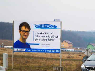 Panou publicitar de tip billboard amplasat la intrare în oraș